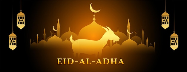 Bannière rougeoyante de l'eid al adha bakrid