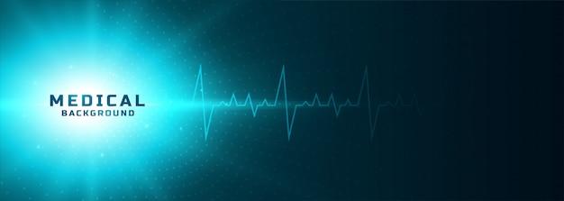 Bannière rougeoyante médicale avec ligne de rythme cardiaque