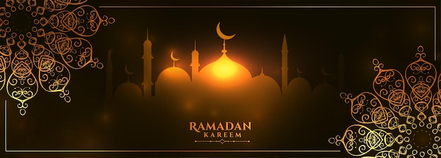 Bannière rougeoyante de ramadan kareem avec décoration de mandala