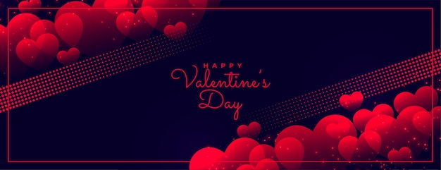 Bannière rougeoyante sombre heureux saint valentin