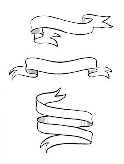 Bannière de ruban dessiné main vintage
