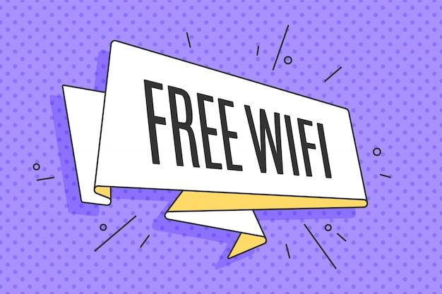 Bannière de ruban à la mode old school avec texte wifi gratuit