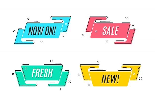 Bannière de ruban plat linéaire de promotion, défilement, étiquette de prix, autocollant,