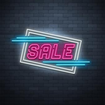 Bannière de ruban promotion néon lumière linéaire, étiquette de prix, réduction