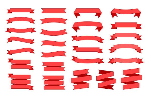 Bannière de ruban rouge avec un espace pour le texte. ensemble d'illustrations de paperasserie.