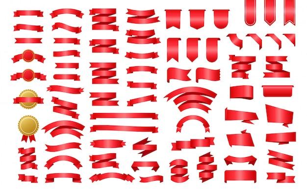 Bannière de ruban rouge. rubans, super design pour toutes fins. ruban royal. élément de décoration. ensemble de médailles. modèle de promotion de bannière de remise. autocollant de réduction. illustration de stock.