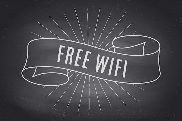 Bannière de ruban avec texte wifi gratuit