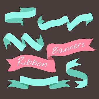 Bannière ruban vert menthe définie illustration vectorielle collection