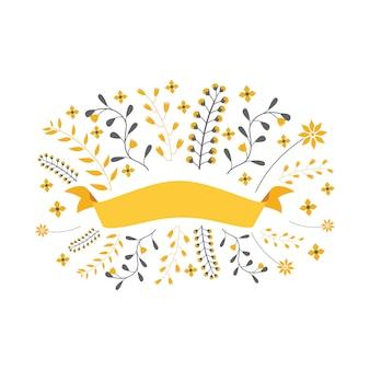 Bannière de rubans floraux avec belle décoration florale