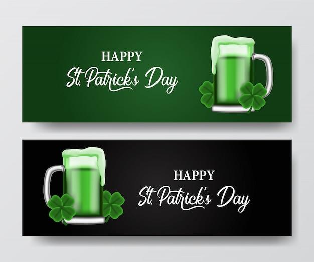 Bannière saint patrick avec bière en verre