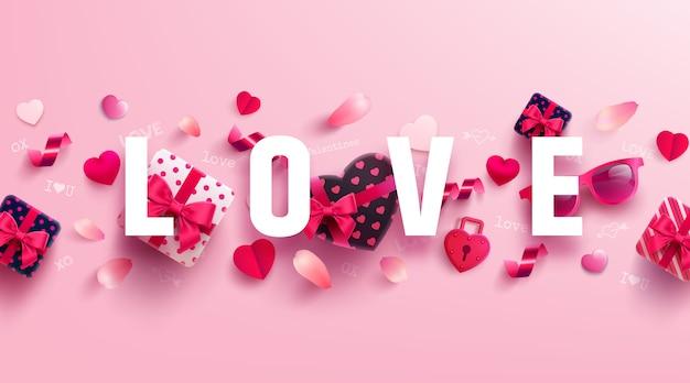 Bannière saint valentin et amour avec un cadeau