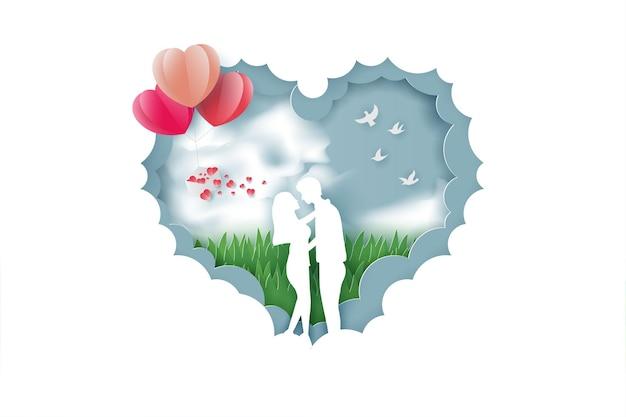 Bannière de la saint valentin avec amour couple et style de coupe de papier arbre