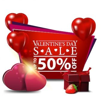 Bannière de la saint-valentin avec des ballons et des cadeaux en forme de coeur