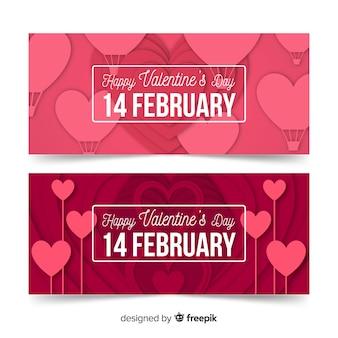 Bannière de saint valentin ballons coeur