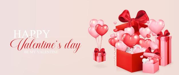 Bannière de la saint-valentin. des ballons en forme de coeur volent hors de la boîte-cadeau rouge. design romantique