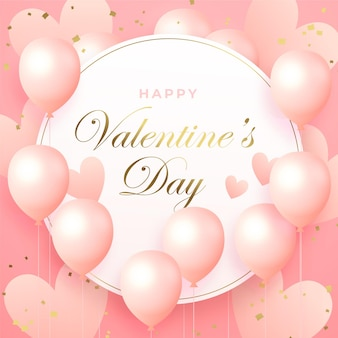 Bannière de la saint-valentin avec des ballons roses et des coeurs, fond rose délicat