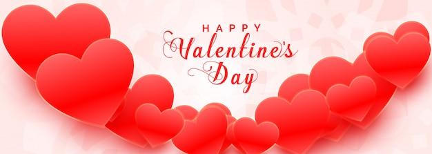 Bannière de la saint valentin de beaux coeurs 3d rouges