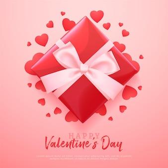 Bannière de la saint-valentin avec boîte-cadeau rouge et coeurs peints, fond rouge romantique