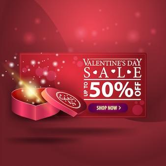 Bannière saint valentin avec cadeau en forme de coeur