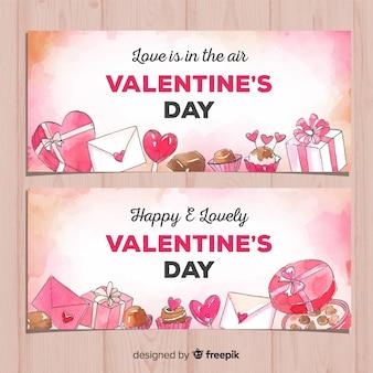 Bannière saint valentin cadeaux aquarelle