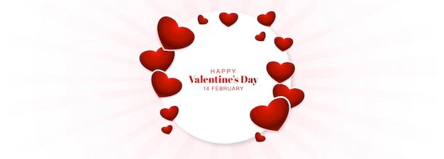 Bannière de saint valentin avec cadre coeurs