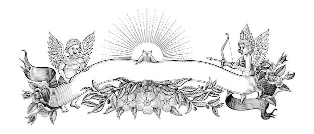 Bannière de la saint-valentin et cadre illustration clipart style vintage noir et blanc sur blanc