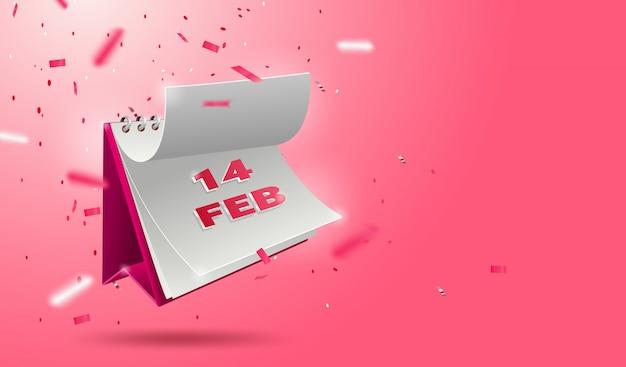 Bannière de la saint-valentin avec calendrier 3d ouvert 14 février et paillettes
