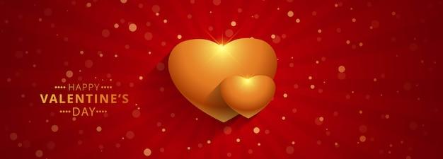 Bannière de la saint-valentin avec coeur d'or