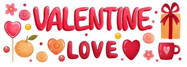 Bannière de la saint-valentin avec coeurs et cadeaux