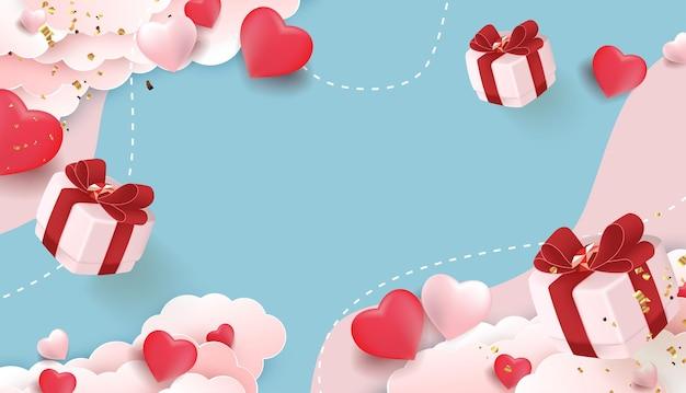 Bannière de la saint-valentin avec coeurs et coffrets cadeaux