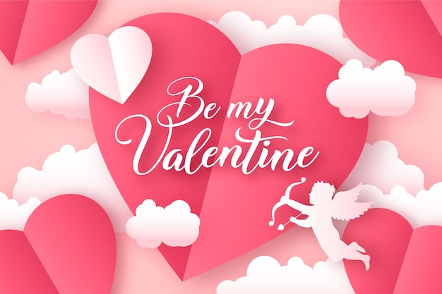 Bannière de la saint-valentin avec des coeurs en papier et silhouette de cupidon dans les nuages, fond de papier découpé romantique