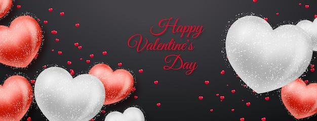 Bannière de la saint-valentin avec des coeurs rouges et argentés sur fond noir