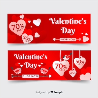 Bannière de saint valentin avec coeurs