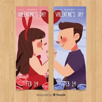 Bannière saint valentin couple souriant