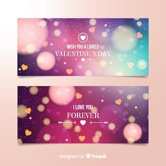 Bannière saint valentin floue