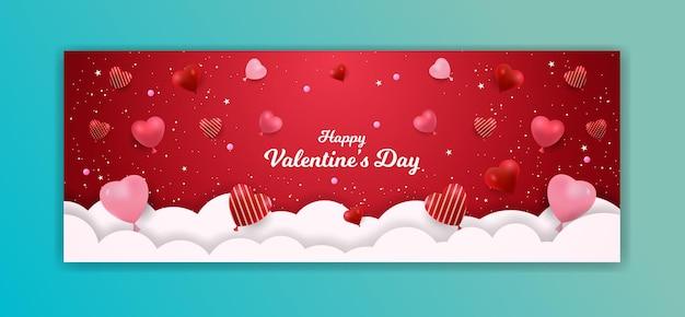 Bannière de la saint-valentin avec forme d'amour avec nuage