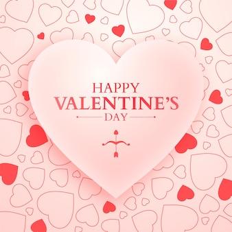 Bannière de la saint-valentin avec grand coeur rose et coeurs de griffonnage, fond rose délicat