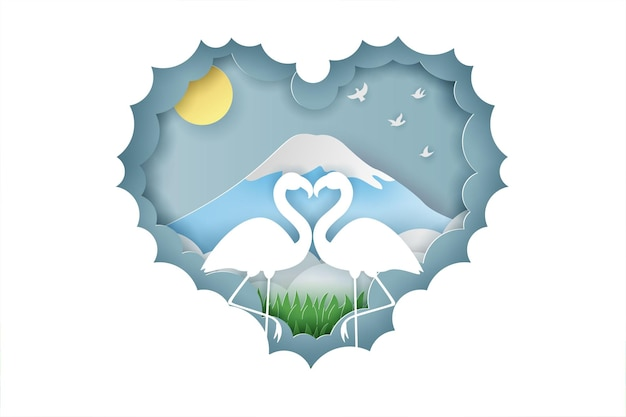 Bannière de la saint-valentin heureuse avec amour de couple oie ou cygne et style de coupe de papier arbre