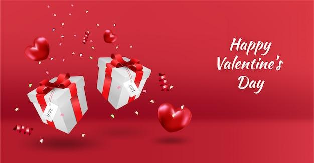 Bannière de la saint-valentin heureuse avec coeurs de luxe rouge, boîte-cadeau et paillettes.