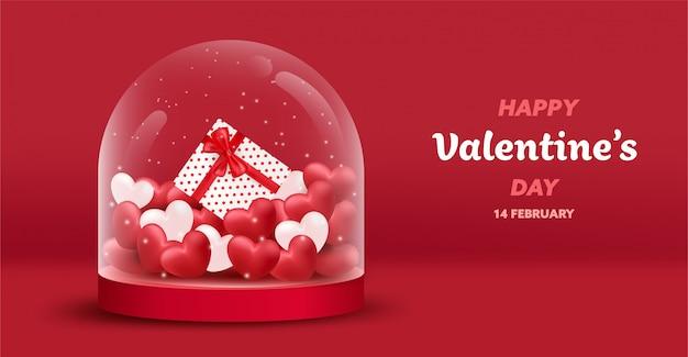 Bannière de la saint-valentin heureuse avec des coeurs de luxe rouges et roses, boîte-cadeau dans un bocal en verre.