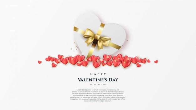 Bannière de la saint-valentin heureuse avec des coeurs réalistes