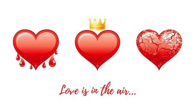 Bannière de la saint-valentin heureuse. dessin animé mignon coeurs rouges avec du sang, couronne, fissures.