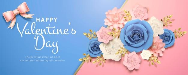 Bannière de la saint-valentin heureuse avec des fleurs en papier en rose et bleu, illustration 3d