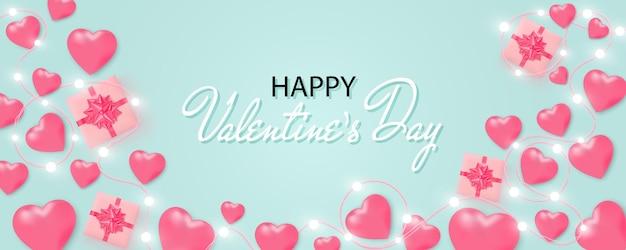 Bannière de la saint-valentin heureuse avec guirlande de lumières brillantes, ampoules, coeurs, coffret cadeau