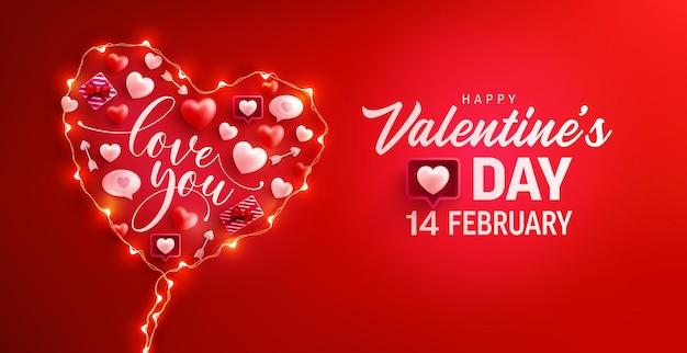 Bannière de la saint-valentin heureuse avec le symbole du coeur des lumières de chaîne led et des éléments de la saint-valentin sur le rouge