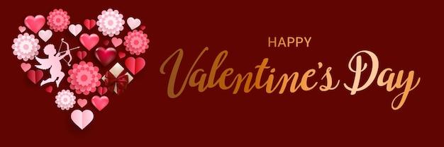 Bannière de la saint-valentin heureuse avec texte de lettrage, coeurs volumétriques, cupidon et fleurs en papier.