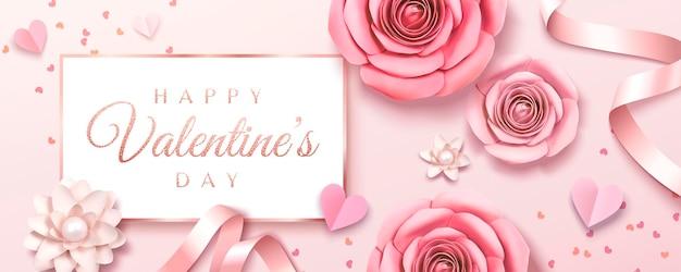 Bannière de la saint-valentin heureuse