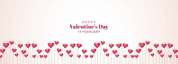 Bannière de la saint-valentin avec jardin du cœur