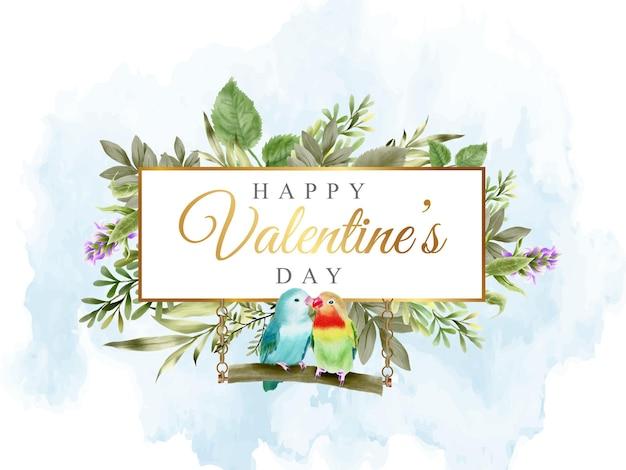 Bannière de la saint-valentin avec un joli inséparable et un design floral