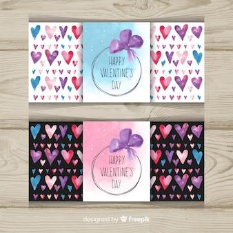 Bannière de saint valentin ligne aquarelle coeurs